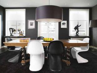 Fekete étkező Pantone székekkel