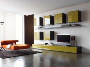 Mustársárga nappali szekrények