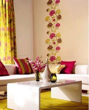 Pink-sárga virágos tapétacsík