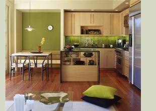 Zöld falú kicsi konyha