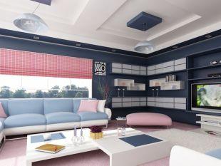 Sötétkék és rózsaszin nappali