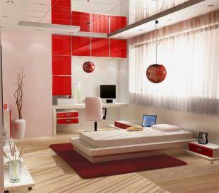 Piros-fehér kamasz szoba